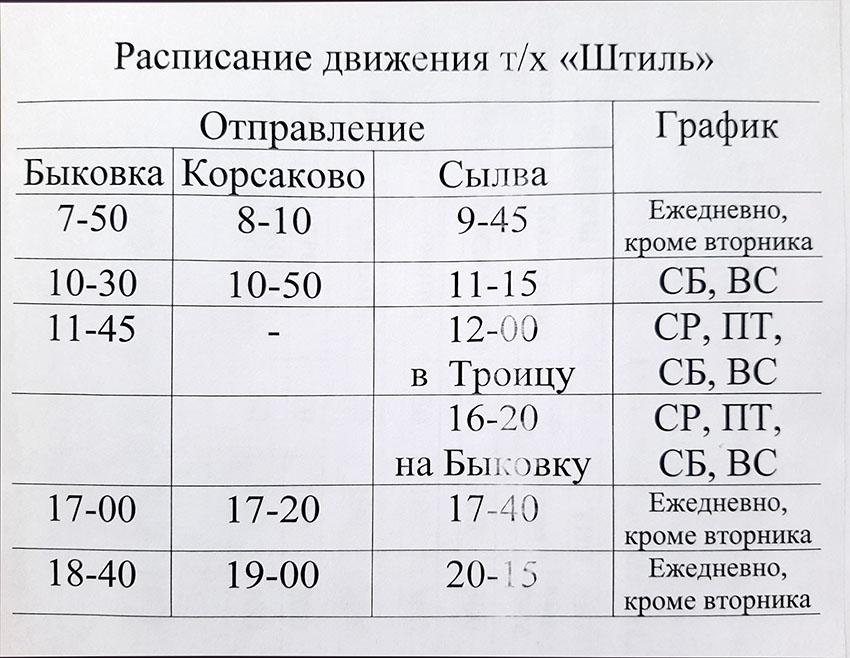 Расписание парома на Быковку